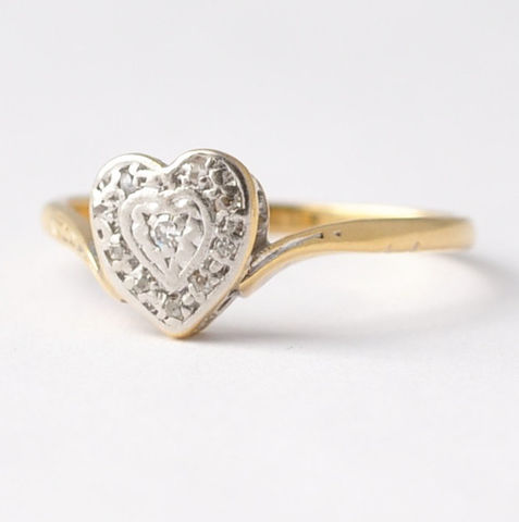 Heart,Shaped,Engagement,Rings:,Art,Nouveau,Diamonds,,18K,Gold,&,Platinum,,Size,8.25/8.5,Antique Art Nouveau Heart Shaped Diamond 18K Yellow Gold Platinum Promise Engagement Rings Jewelry Gifts for Girlfriend Teens