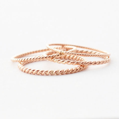 Rose Gold Wedding Band: 18K Twist - product images  of