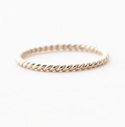 14K,White,Gold,Twisted,Band,Simple Unique Twisted Braided Solid 14K White Gold Dainty Thin Wedding Band Ring for Women