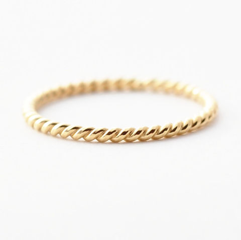 18K,Gold,Twist,Ring,Simple Thin Braided Twist Rope 18K Yellow Gold Unique Wedding Band Ring for Women