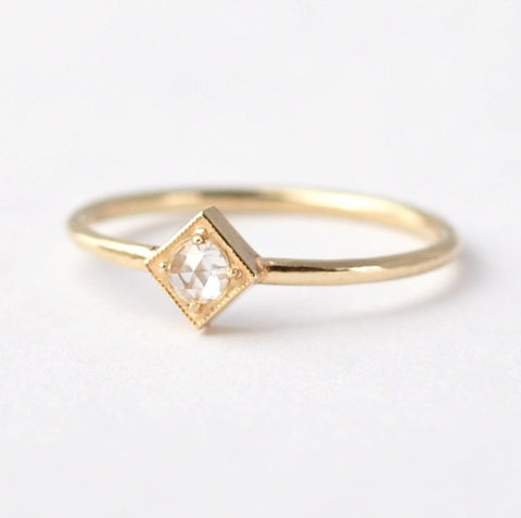 Rose,Cut,Diamond,Ring:,14K/18K,Gold,Square,Setting,Solitaire,Rose Cut Solitaire Diamond Geometric Square Setting 14K 18K Gold Unique Unusual Engagement Rings For Women
