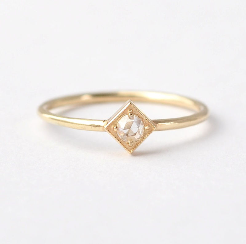 Rose Cut Diamond Ring: 14K/18K Gold Square Setting Solitaire - product images  of