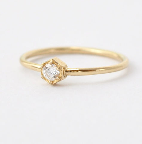 Unique,Diamond,Rings:,14K,18K,Hexagon,Engagement,Ring,under,1000,Unique Simple Modern Solitaire Diamond Geometric Hexagon Setting 14K 18K Gold Unusual Engagement Ring Under 1000
