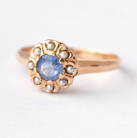 Blue,Sapphire,Ring:,Antique,Pearl,&,14K,Gold,,Size,5,Jewelry  Rings  Multistone Rings  Halo Ring  Cocktail Rings  Edwardian Jewelry  Antique Rings  Anniversary Rings Alternative Rings  Unique Engagement  Pearl Rings  Sapphire Rings  Antique Sapphire  Sapphire Halo Ring  Gifts for Wife blue sapphire ring