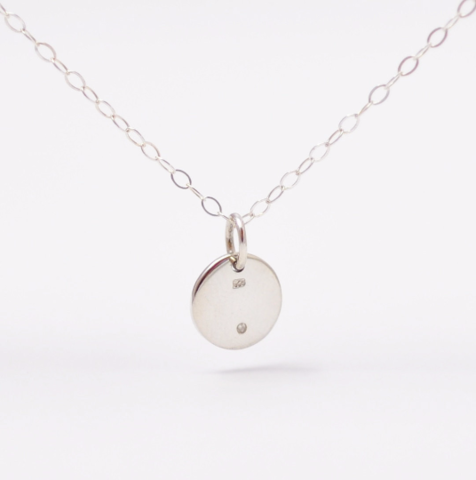 Tiny Diamond Circle Charm Necklace - product images  of