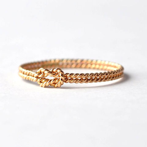 Yellow,Gold,Filled,Sailors,Knot,Ring,Nautical Sailors Double Band Love Knot Promise Ring Cool Best Friend Gift Ideas Under 25