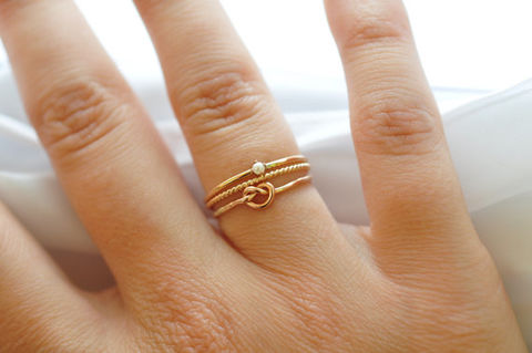 Stacking,Rings:,Yellow,Gold,Filled,Pearl,,Knot,Ring,&,Twisted,Band,Simple Nautical Preppy Boho 14K Yellow Gold Filled Stacking Ring Band Set Gifts for Best Friends Sister Women Under 50