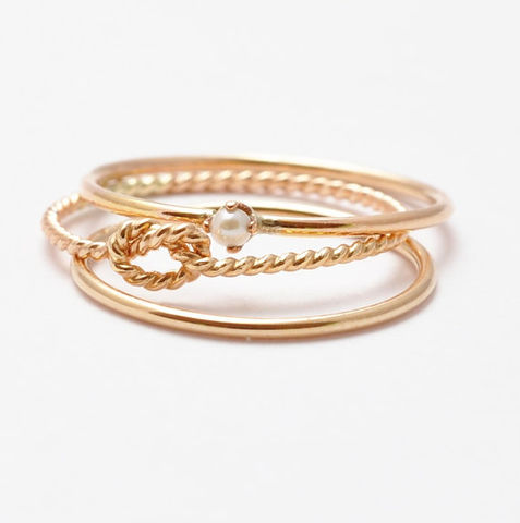 Thin,Gold,Rings:,Seed,Pearl,Ring,,Yellow,Band,,Twist,Knot,Ring,Simple Nautical Preppy Boho 14K Yellow Gold Filled Stacking Ring Band Set Gifts for Best Friends Sister Women Under 50