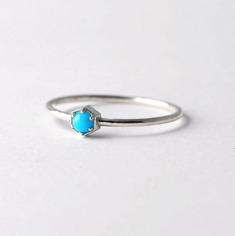 Turquoise,&,Silver,Hexagon,Ring,Solitaire Hexagon Non Diamond Sleeping Beauty Turquoise Sterling Silver Engagement Geometric Modern Ring Jewelry