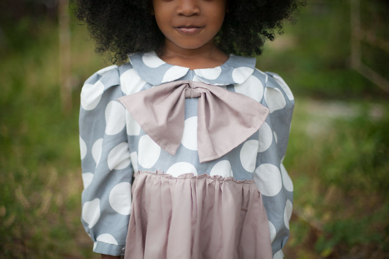 My Petite Dot Girls Dress with Peter Pan Collar and Bow from Fleur + Dot Autumn Winter 12 Collection - product images  of