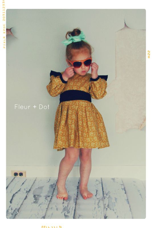 The Open Prairie Girls Dress with Ruffle and Puff SLeeves from Fleur + Dot Autumn Winter 12 Collection - product images  of