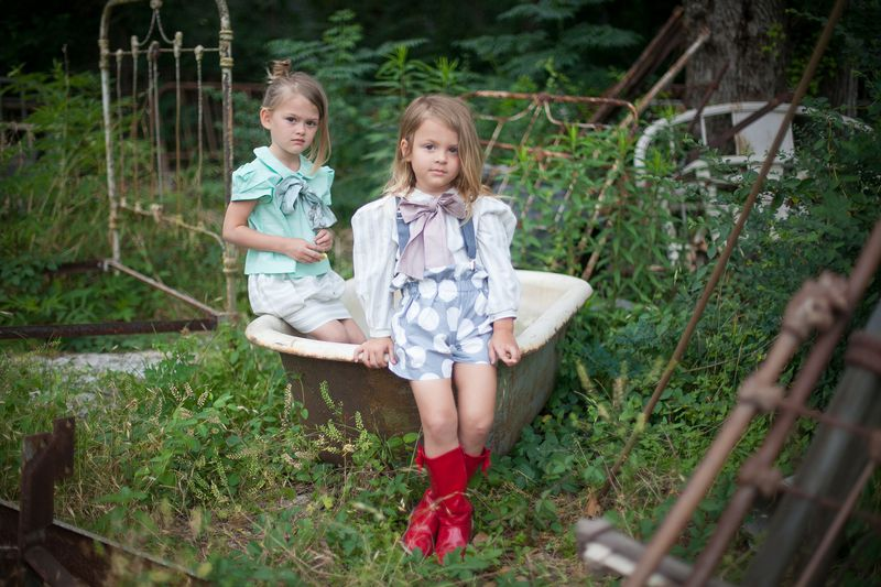 The Minted or Navy Bow Peter Pan Collar Girls Blouse from the Fleur + Dot Autumn Winter 12 Collection - product images  of