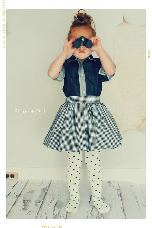 The Black Gingham Extra Full Skirt with Sash from the Fleur + Dot Autumn Winter 12 Collection - product images  of