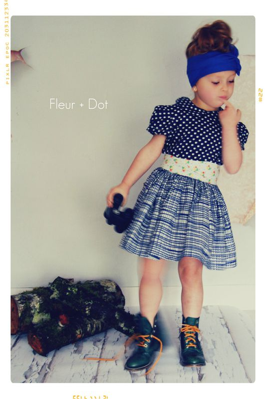 The Blue Grid Extra Full Skirt from the Fleur + Dot Autumn Winter 12 Collection - product images  of