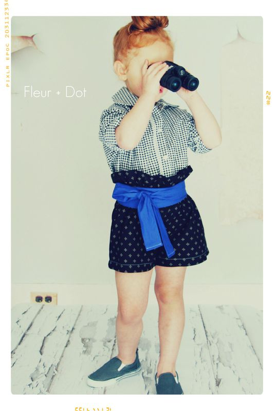 The Black Dotted Ruffle Top High Waist Shorts from the Fleur + Dot Autumn Winter 12 Collection - product images  of