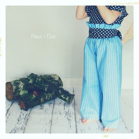 The,Blue,Striped,Ruffle,Top,Wide,Leg,Trouser,Pants,from,the,Fleur,+,Dot,Autumn,Winter,12,Collection,Girl, pants, ruffle top, high waist, blue, striped, toddler, baby, small, medium, large, 18 months, 2T, 3T, 4T, 5, 6, 7, 8, fleur and dot, fleur + dot, fleuranddot, winter, autumnwinter12