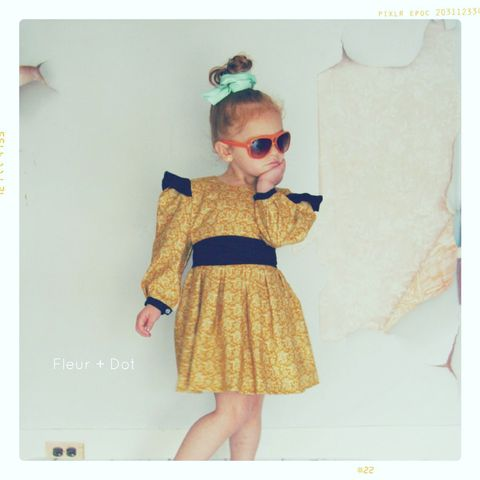 The,Open,Prairie,Girls,Dress,with,Ruffle,and,Puff,SLeeves,from,Fleur,+,Dot,Autumn,Winter,12,Collection,dress, girl, baby, gold, ruffle sleeves, puff sleeves, polka dot, skirt, bow, bow dress, girl dress, peter pan collar, peter pan collar dress, fall, autumn, winter, fleur + dot, fleur and dot, fleuranddot, purple, grey, white, mauve, paris, parisian