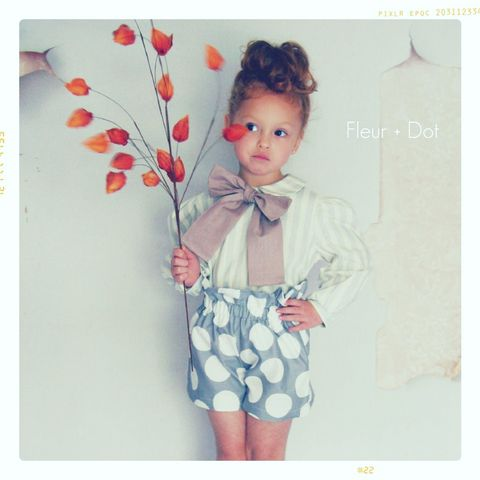The,Polka,Dotted,Ruffle,Top,High,Waist,Shorts,from,the,Fleur,+,Dot,Autumn,Winter,12,Collection,Girl, shorts, ruffle top, high waist, polka dot, grey, white, blue, toddler, baby, gold, dots, small, medium, large, 18 months, 2T, 3T, 4T, 5, 6, 7, 8, fleur and dot, fleur + dot, fleuranddot, winter, autumnwinter12