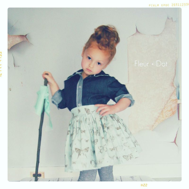 The Butterfly Extra Full Skirt with Attached Sash from the Fleur + Dot Autumn Winter 12 Collection - product images  of