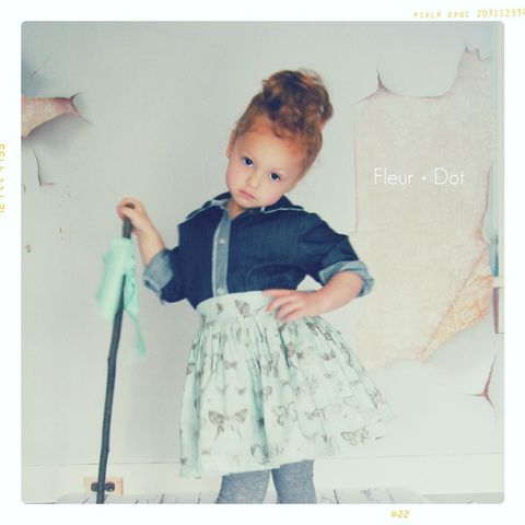 The,Butterfly,Extra,Full,Skirt,with,Attached,Sash,from,the,Fleur,+,Dot,Autumn,Winter,12,Collection,Girl, skirt, blue, butterfly, toddler, baby, gold, dots, small, medium, large, 18 months, 2T, 3T, 4T, 5, 6, 7, 8, fleur and dot, fleur + dot, fleuranddot, winter, autumnwinter12