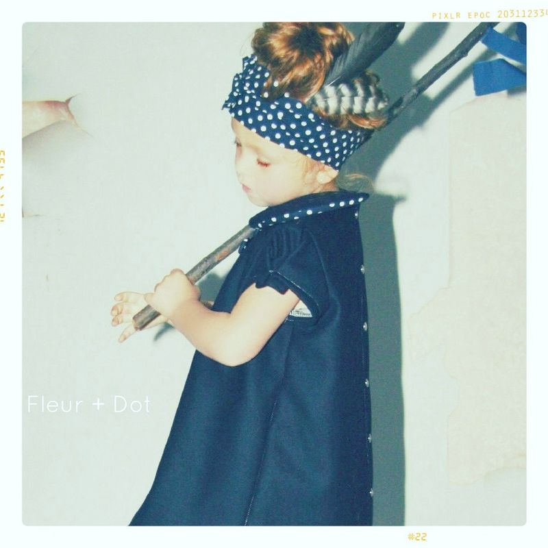 The Navy Wool Dot Collared Shift Girls Dress from Fleur + Dot Autumn Winter 12 Collection - product images  of
