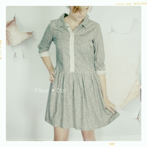 Womens,Black,and,White,Graphite,Collared,Shirtdress,from,Fleur,+,Dot's,Women,Spring,Summer,2013,women, dress, shirtdress, collared dress, black, white, floral, map, women's dress, spring, summer
