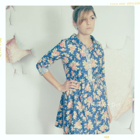 Womens,Vintage,Rose,Floral,Collared,Shirtdress,from,Fleur,+,Dot's,Women,Spring,Summer,2013,women, dress, shirtdress, collared dress, black, white, floral, map, women's dress, spring, summer