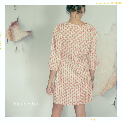Womens,Pink,Japanese,Floral,Peter,Pan,Collar,Shift,Dress,from,Fleur,+,Dot's,Women,Spring,Summer,2013,Collection,women, dress, shift dress, peter pan collar, peter pan collar shift, blue, floral, quilt, women's dress, spring, summer