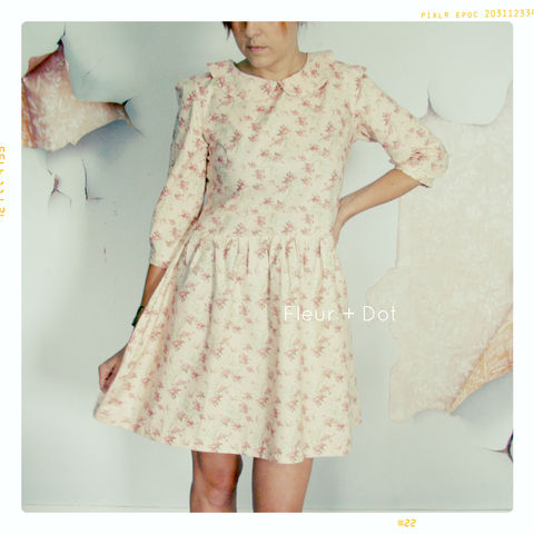 Womens,English,Tea,Rose,Peter,Pan,Collar,Dress,with,Full,Skirt,from,Fleur,+,Dot's,Women,Spring,Summer,2013,Collection,women, dress, full skirt, peter pan collar, peter pan collar shift, pink, floral, bird, women's dress, spring, summer