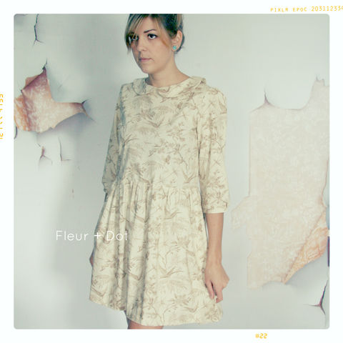 Womens,Bird,in,Paradise,Peter,Pan,Collar,Dress,with,Full,Skirt,from,Fleur,+,Dot's,Women,Spring,Summer,2013,Collection,women, dress, full skirt, peter pan collar, peter pan collar shift, tan, floral, bird, women's dress, spring, summer