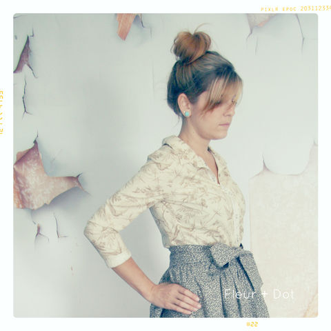 Womens,Bird,in,Paradise,Collared,Button,Up,Blouse,from,Fleur,+,Dot's,Women's,Spring,Summer,2013,Collection,blouse, button up, women, fashion, shirt, collared shirt, tan, bird, floral, tropical, spring, summer