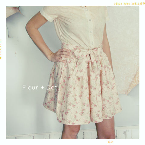 WOMENS,English,Tea,Rose,Extra,Full,Skirt,with,Sash,from,Fleur,+,Dot's,Women,Spring,Summer,2013,Collection,skirt, women, knee length, pink, bird, floral, fleuranddot, fleur and dot, fleur + dot, spring, summer, fall, autumn, fashion, handmade, vintage inspired