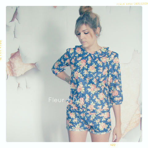 WOMENS,High,Waist,Ruffle,Shorts,WITH,SASH,FROM,FLEUR,+,DOT'S,WOMEN,SPRING,SUMMER,2013,COLLECTION,women, shorts, ruffle top, ruffle top shorts, spring, summer, fleuranddot, fleur and dot, navy, blue, anchor, floral, pink, vintage inspired, cotton