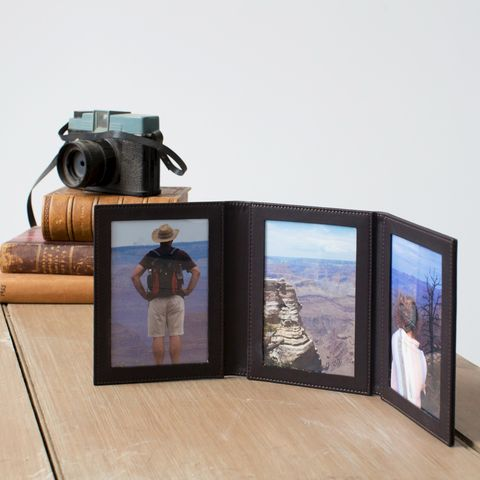 Triple,Leather,Folding,Photo,Frame,folding, photo, frame, leather, black, brown, travel
