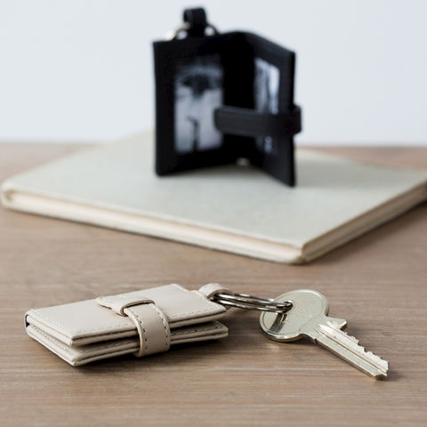 Leather,Photo,Frame,Keyring,ladies, mens, black, beige, leather, double, photo, keyring, key, ring, frame
