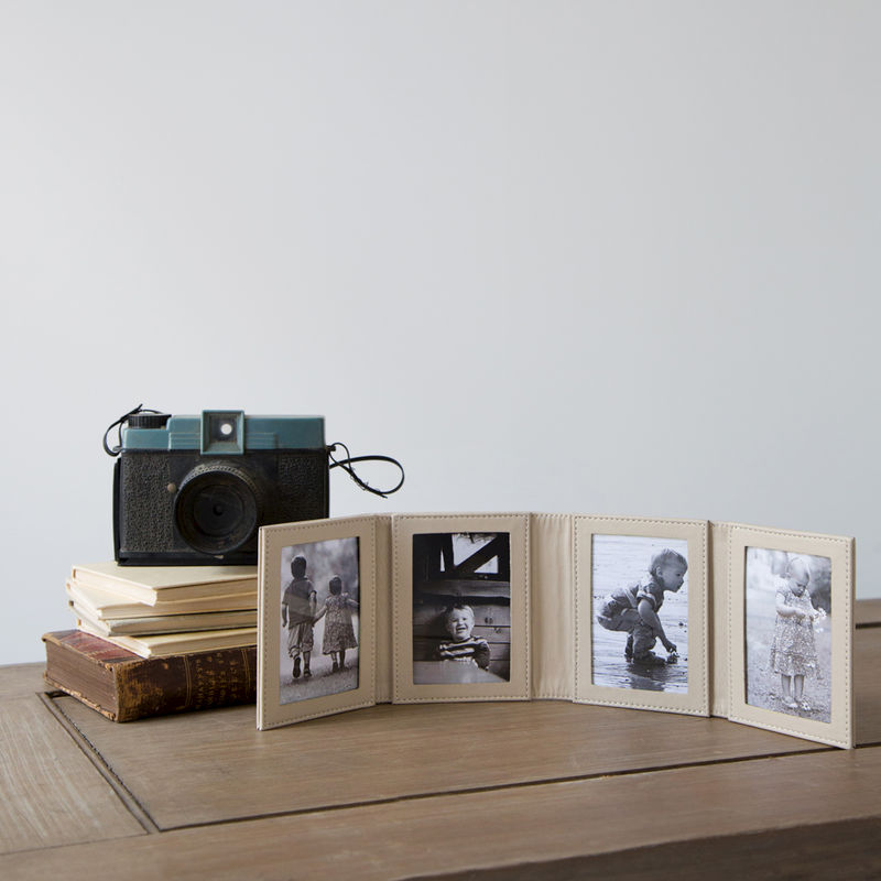 folding four fold leather photo frame simply special gifts