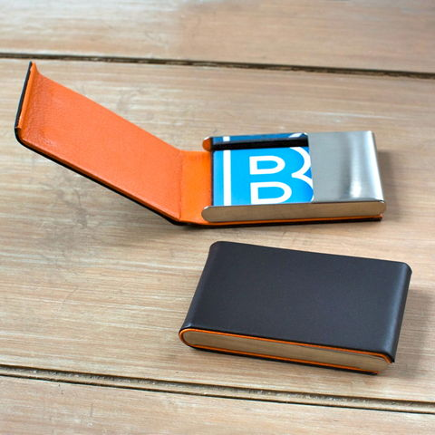 Brown,&,Orange,Leather,Card,Case,brown, orange, leather, business, card, case, holder, credit, mens, gift