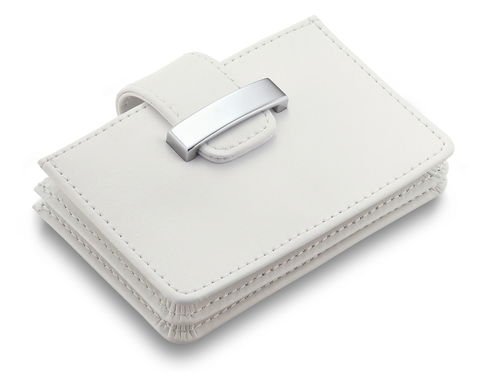 White,Leather,Ladies,Business,Card,Case,ladies, white, leather, business, credit, card, case, gift, present