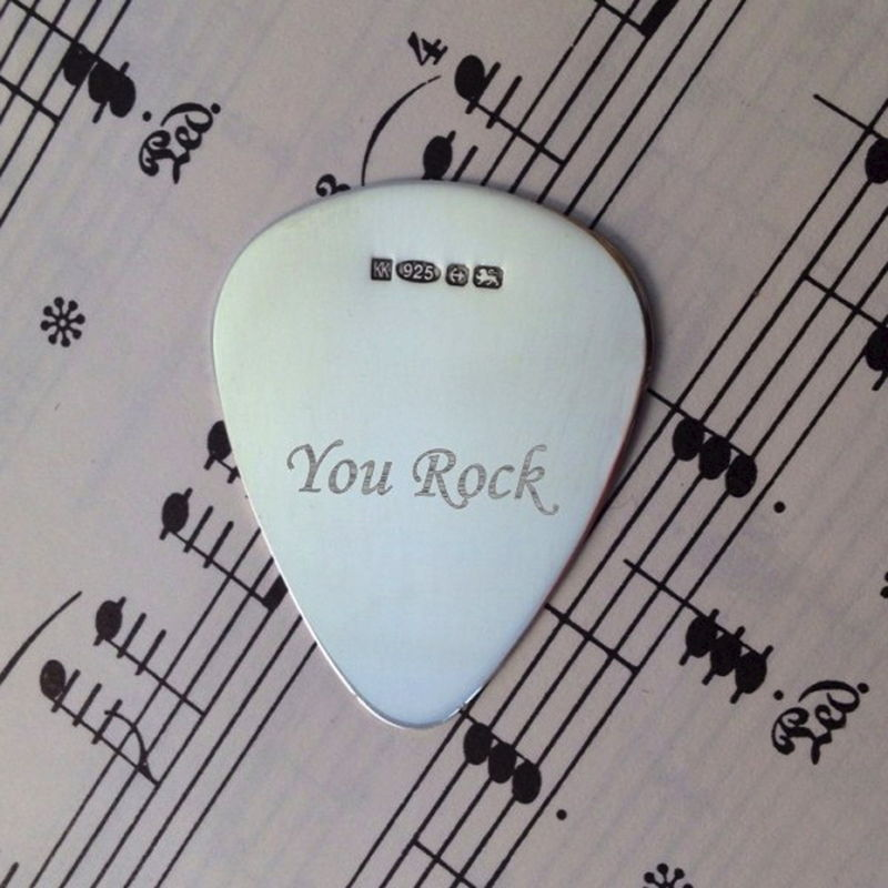 Engraved Sterling Silver Plectrum - product image