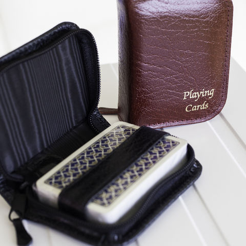 Playing,Cards,in,Leather,Case,leather, burgundy, black, playing, card, set, case, travel