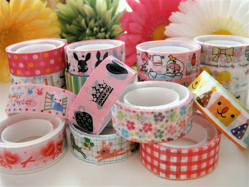 Kawaii Deco Tape Sampler Mix - 5 pieces - Japanese Mix Lot Grab Bag - product images  of
