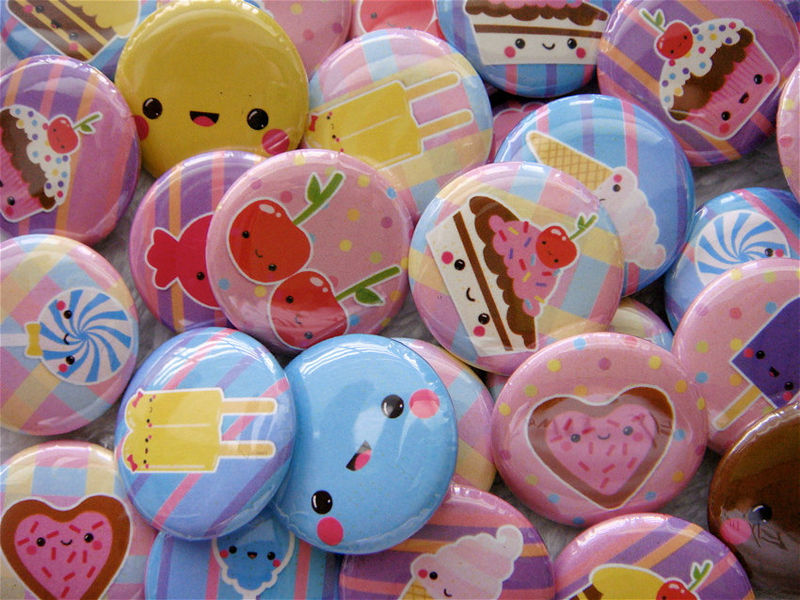 28 Kawaii Pinback Buttons or Flat Back Cabochons - Kawaii Sweets Love Fruits - Cute Grab Bag Japanese - 1 inch - product images  of