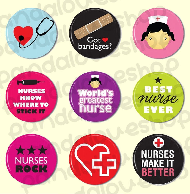 Nurses Rock - Pinback Buttons or Flat Back Buttons - Set of 9 - 1 inch 25mm Round - product images  of