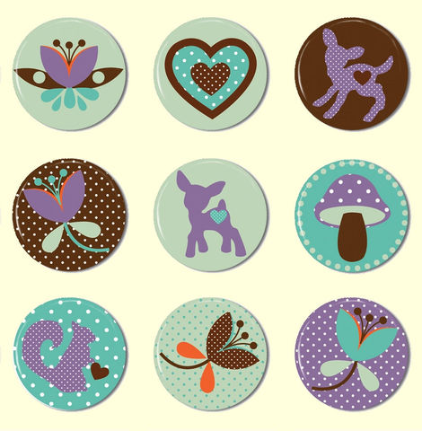 Woodland,Love,Doe,-,1,inch,Pinback,Buttons,or,Flat,Back,Cabochons,Set,of,9,Supplies,Handmade,Cabochon,1_inch_25mm,flat_back_cabochons,woodland_forest,pinback_buttons,hair_bow_supplies,owls_bird_birdie,cute_kawaii_japanese,handmade_wholesale,diy_party_favor,doe_deer,purple_green_earth,polka_dots,flat_back_buttons,paper,mylar,meta
