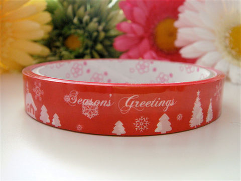 Deco,Tape,Kawaii,-,Christmas,Gift,Season's,Greetings,Medium,Roll,Trees,Red,Holiday,Japanese,Supplies,Commercial,packaging,deco_tape,zakka,japanese_deco_tape,kawaii_deco,decorative_tape,kawaii_grab_bag,christmas,holiday,cute_kawaii_japanese,gift_wrap_present,winter_snowflakes,red_white_candy_cane
