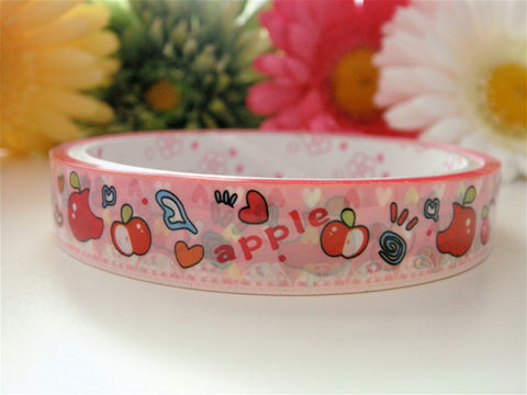Japanese,Deco,Tape,-,Sweet,Red,Apples,Medium,Roll,Supplies,Commercial,packaging,gift_wrap,deco_tape,zakka,japanese_deco_tape,kawaii_deco,decorative_tape,kawaii_sticker,cute_kawaii_japanese,hearts,sweet_red,fruit_apple,strawberry