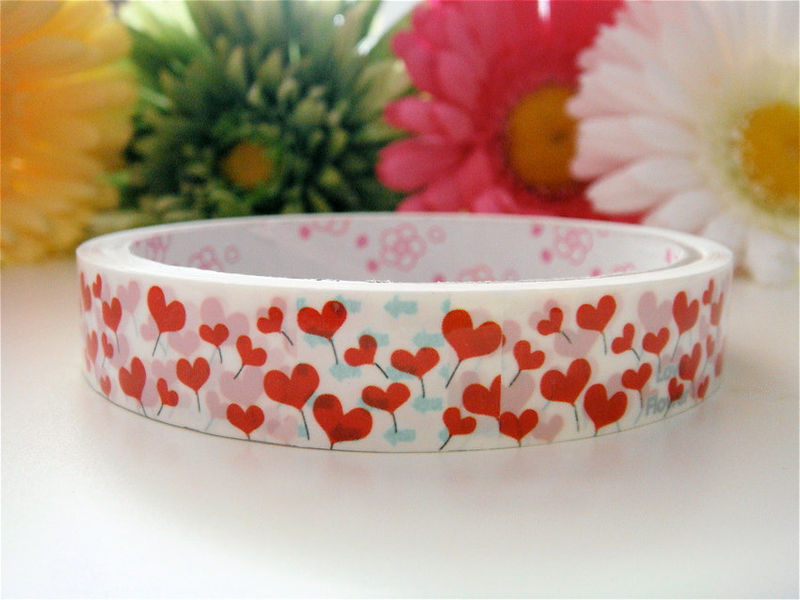 Sticker Deco Tape Kawaii - Blooming Red Hearts Flowers - Medium Roll - Cute Japanese Packaging Zakka - product images