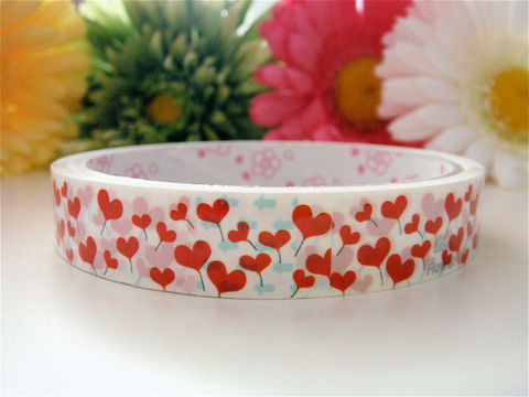 Sticker,Deco,Tape,Kawaii,-,Blooming,Red,Hearts,Flowers,Medium,Roll,Cute,Japanese,Packaging,Zakka,Supplies,Commercial,packaging,gift_wrap,zakka,japanese_deco_tape,kawaii_sticker,kawaii_deco_tape,stationery,decorative_deco_tape,kawaii_cute,flowers,red_hearts,valentine_day_vday,romantic_love,deco_tape