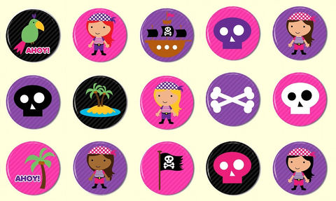 Pirate,Girl,Pinback,Buttons,-,Set,of,15,Party,Favors,Supplies,Handmade,Cabochon,1_inch_25mm,flat_back_cabochons,pinback_button,bottlecap_bottle_cap,pirate_girl_girly,party_favor,flatback_cabochon,hair_bow_supplies,cute_kawaii,pink_purple_black,wholesale,image_collage_sheet,cute_pinback_buttons,paper,mylar,m