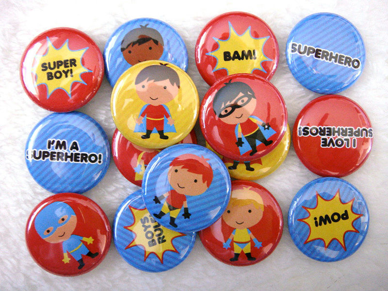 15 Superhero Boys - 1 inch Pinback Buttons - Cute Party Favors - product images  of 